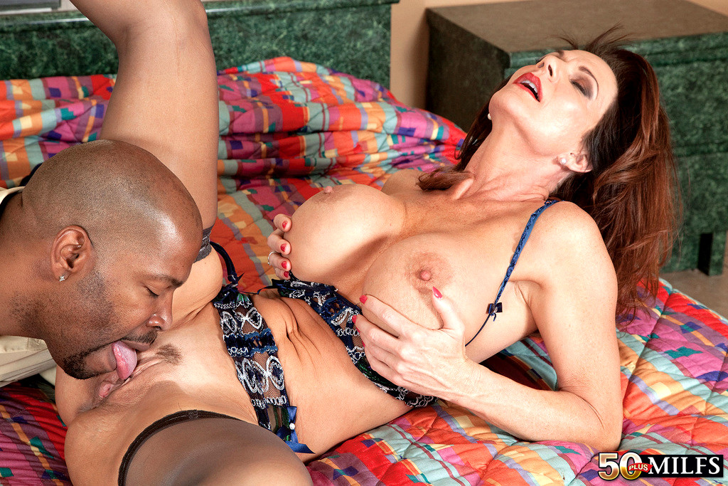 Milf covered in oil wearing a see through bodysuit cant resist this bbc