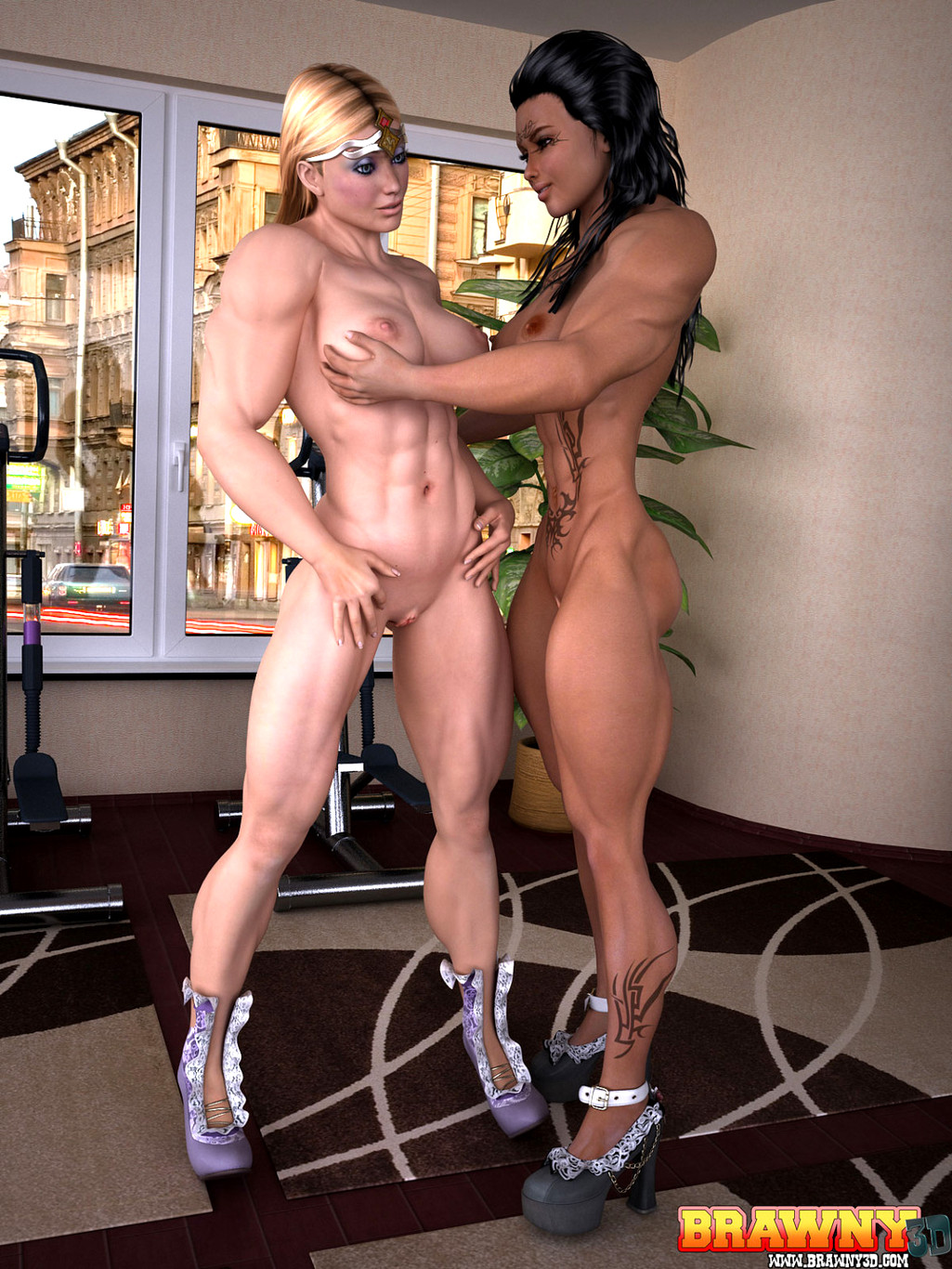 Muscular lesbian porn stars