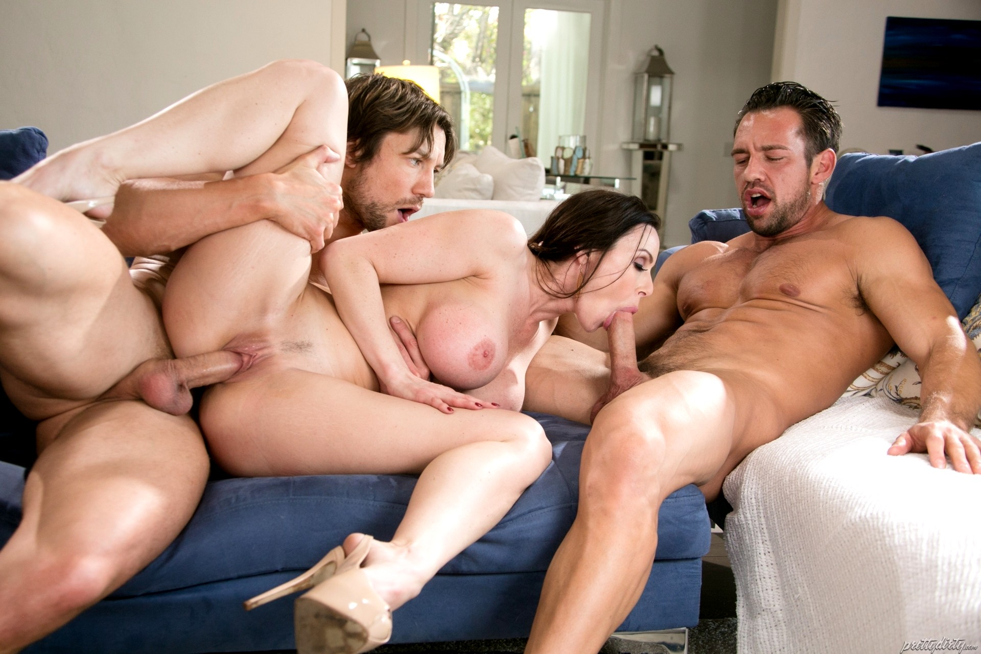 Good looking milf joins a wild threesome with young couple